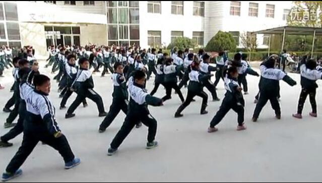 山东燕鸣希望小学演练少林五形八法拳