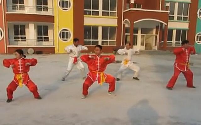 山东省新泰市燕鸣希望小学教练组演练少林五形八法拳